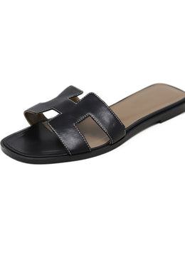 Sandals Shoe Hermes Black Leather Shoes
