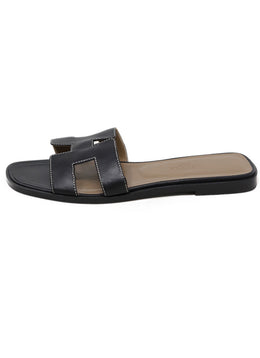 Sandals Shoe Hermes Black Leather Shoes 1