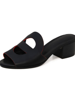 Hermes Black Leather Red Trim Sandals