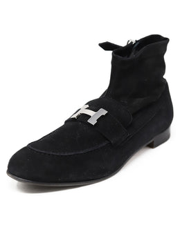 Hermes Black Leather Silver Metal Buckle Booties