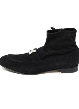 Hermes Black Leather Silver Metal Buckle Booties 1