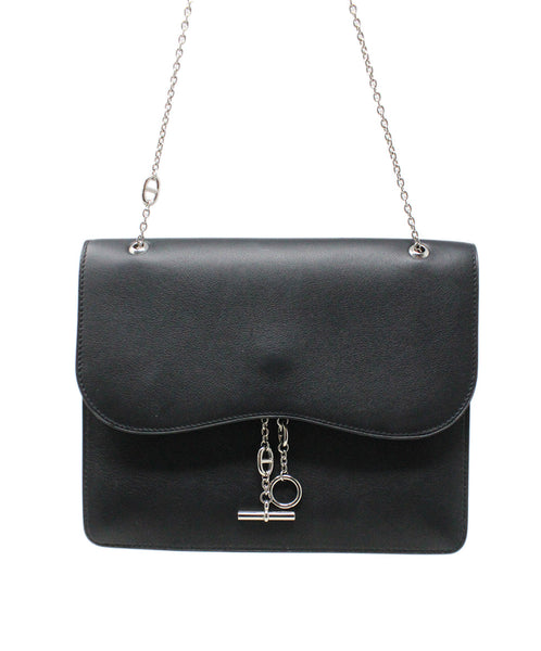Hermes Black Leather Shoulder Bag Silver Hardware Handbag 4