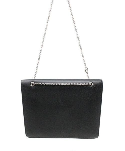 Hermes Black Leather Shoulder Bag Silver Hardware Handbag 3