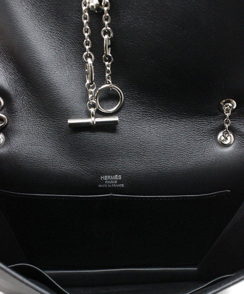 Hermes Black Leather Shoulder Bag Silver Hardware Handbag 7