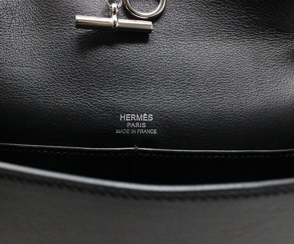 Hermes Black Leather Shoulder Bag Silver Hardware Handbag 8