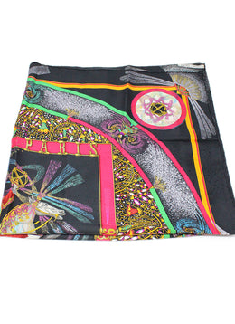 Hermes Black Red Green Gold Silk Scarf 1