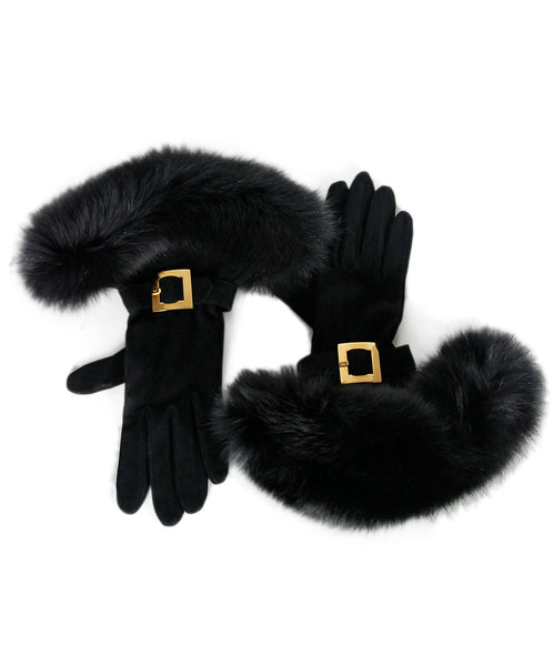 Hermes Black Suede Fox Gloves
