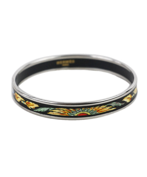 Hermes Black Yellow Enamel Feathers Print Bracelet