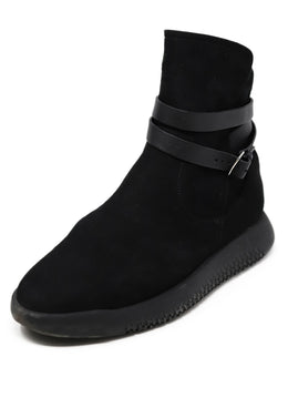 Hermes Shoe Black Suede Rubber Sole W/Dust Cover Booties