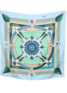 "Hermes ""Celebrating 150 Years of Central Park"" Blue Aqua Beige Silk Scarf"