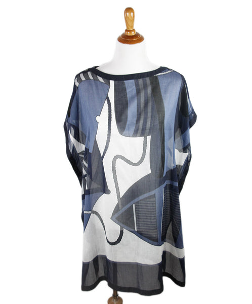 Hermes Blue Black Cotton Cover-Up Size 10