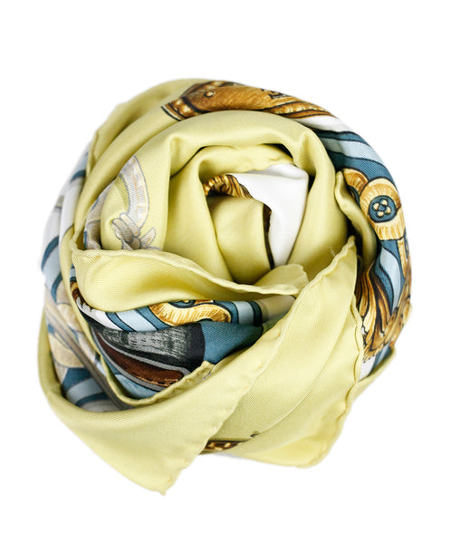 Hermes 'Bride De Cour' Blue Gold White Silk Scarf