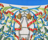 Hermes Blue Teal White Fuschia Silk Scarf 1