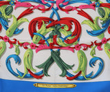 Hermes Blue Teal White Fuschia Silk Scarf 2