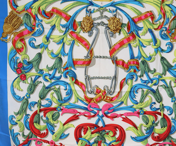 Hermes Blue Teal White Fuschia Silk Scarf 3