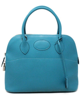 Hermes Turquoise Blue Leather Satchel 31CM Bolide 1