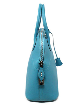 Hermes Turquoise Blue Leather Satchel 31CM Bolide 2