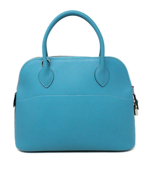 Hermes Turquoise Blue Leather Satchel 31CM Bolide 3