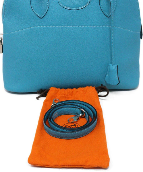 Hermes Turquoise Blue Leather Satchel 31CM Bolide 8