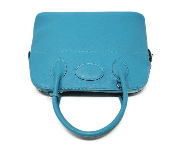 Hermes Turquoise Blue Leather Satchel 31CM Bolide 5