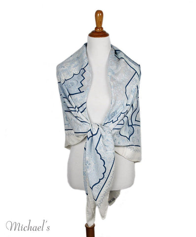 Hermes Blue White Cashmere Silk Scarf