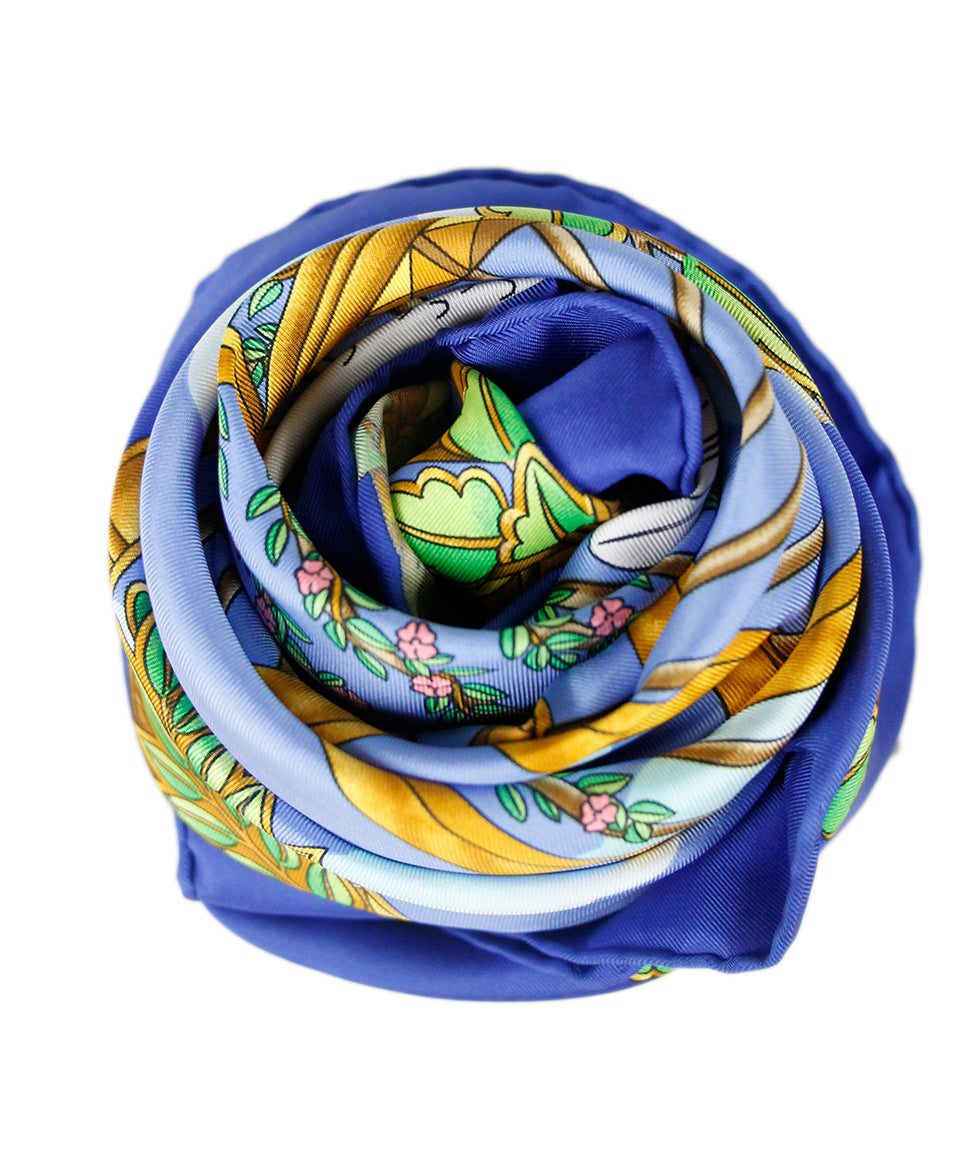 Hermes Blue Yellow Silk Scarf