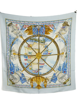 Hermes VIVE LE VENT Blue Gold Ivory Multi Silk Print Scarf 2