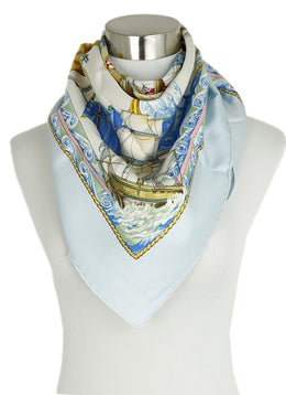 Hermes VIVE LE VENT Blue Gold Ivory Multi Silk Print Scarf 1