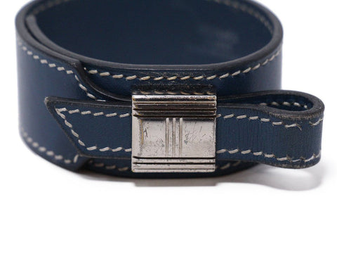 Hermes Blue leather bracelet 1