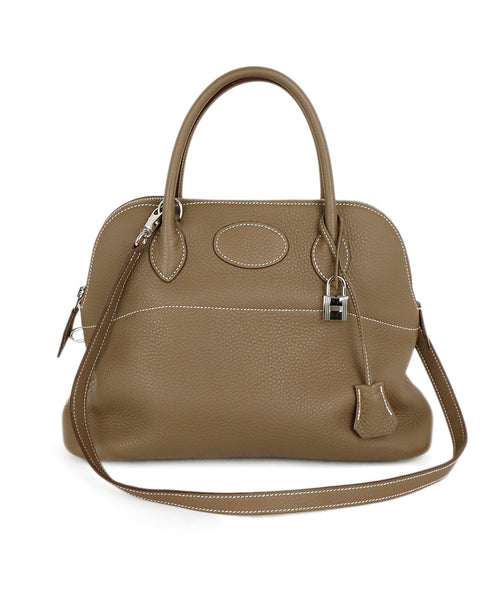 Hermes 32cm Bolide Neutral Taupe Leather Satchel Handbag 1