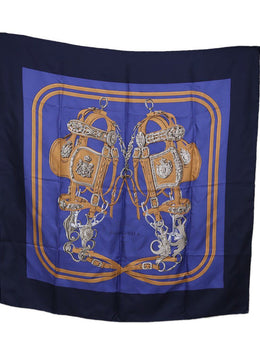 Hermes Brides de Gala Navy Brown Silk Scarf