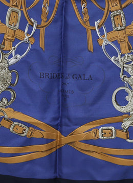 Hermes Brides de Gala Navy Brown Silk Scarf 1
