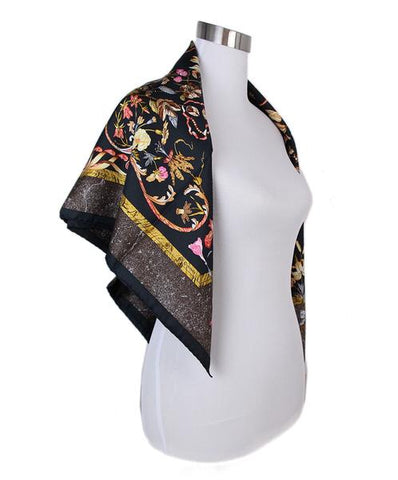 Hermes Black Gold Silk Print Pierres d'Orient et d'Occident Scarf