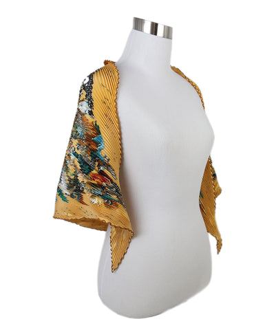 Hermes Brown Gold Print Silk Pleated Scarf 2