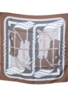 Hermes Brown Grey Silk Print Scarf