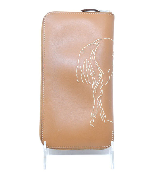 Hermes Brown Leather Wallet With Embroidery 5