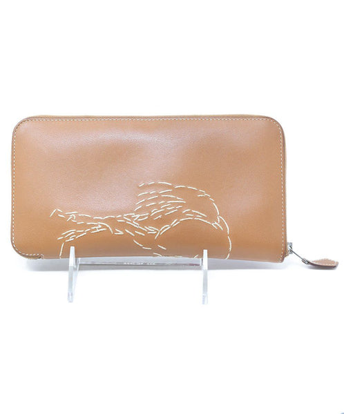 Hermes Brown Leather Wallet With Embroidery 3