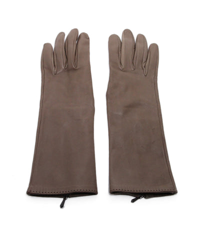 Hermes Brown Leather Gloves 1