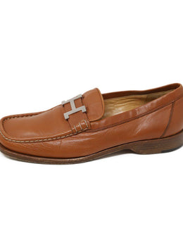 Hermes Brown Loafers with Silver H Buckle 2