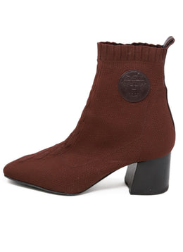 Hermes Brown Nylon Spandex Knit Booties 1