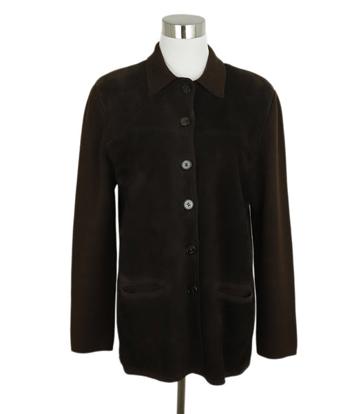 Hermes Brown Suede Wool Button Jacket 1