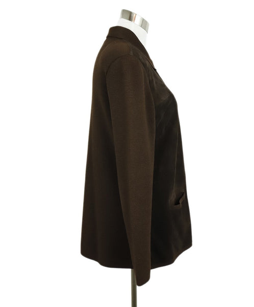 Hermes Brown Suede Wool Button Jacket 2