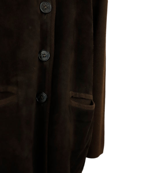 Hermes Brown Suede Wool Button Jacket 6
