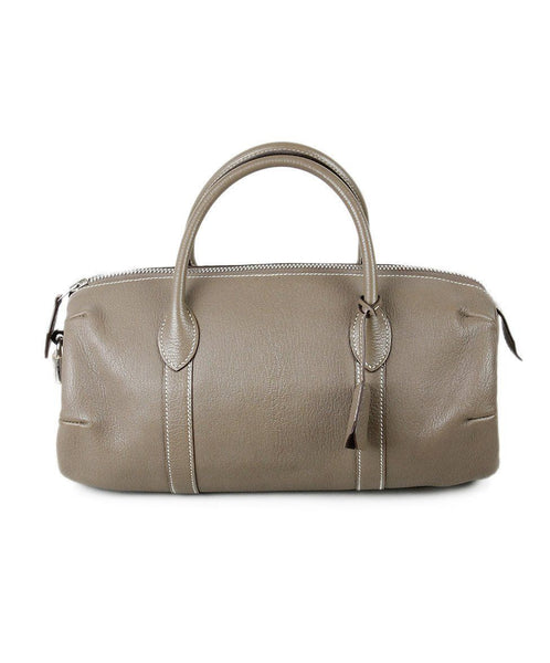 Hermes Taupe Leather Silver Hardware Handbag