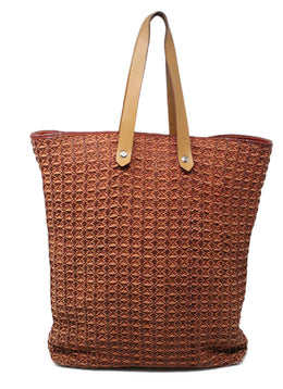 Hermes Brown Woven Leather Canvas Tote Bag 1