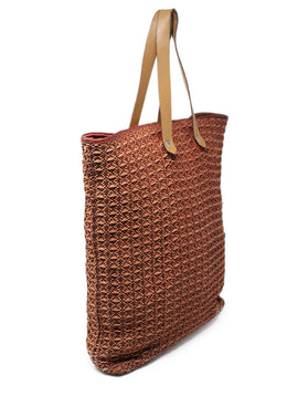 Hermes Brown Woven Leather Canvas Tote Bag 2