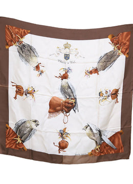 Hermes Chasse a Vol Ivory Brown Silk Scarf