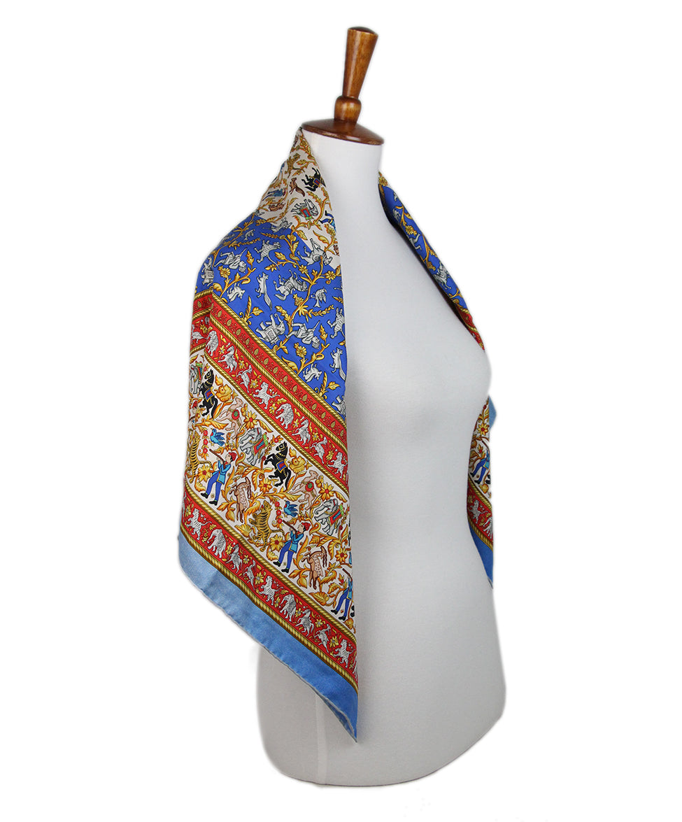Hermes Chasse en inde Blue Red Yellow Silk Scarf 2