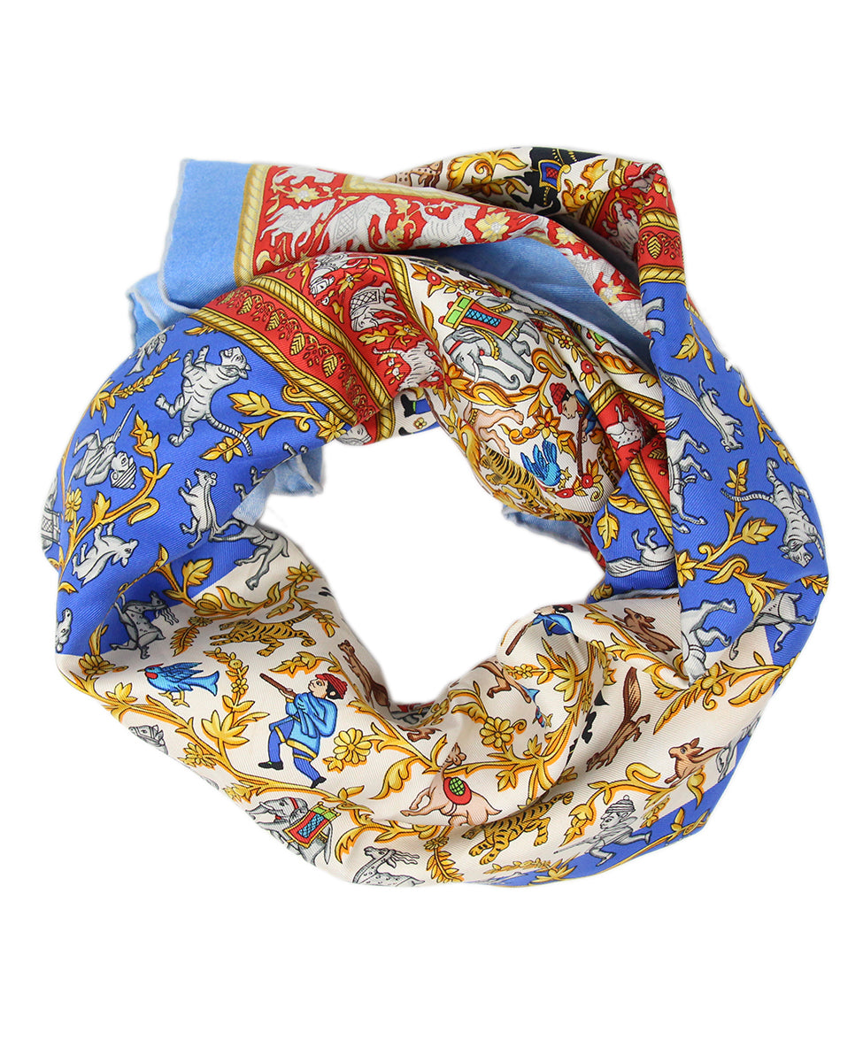 Hermes Chasse en inde Blue Red Yellow Silk Scarf 1