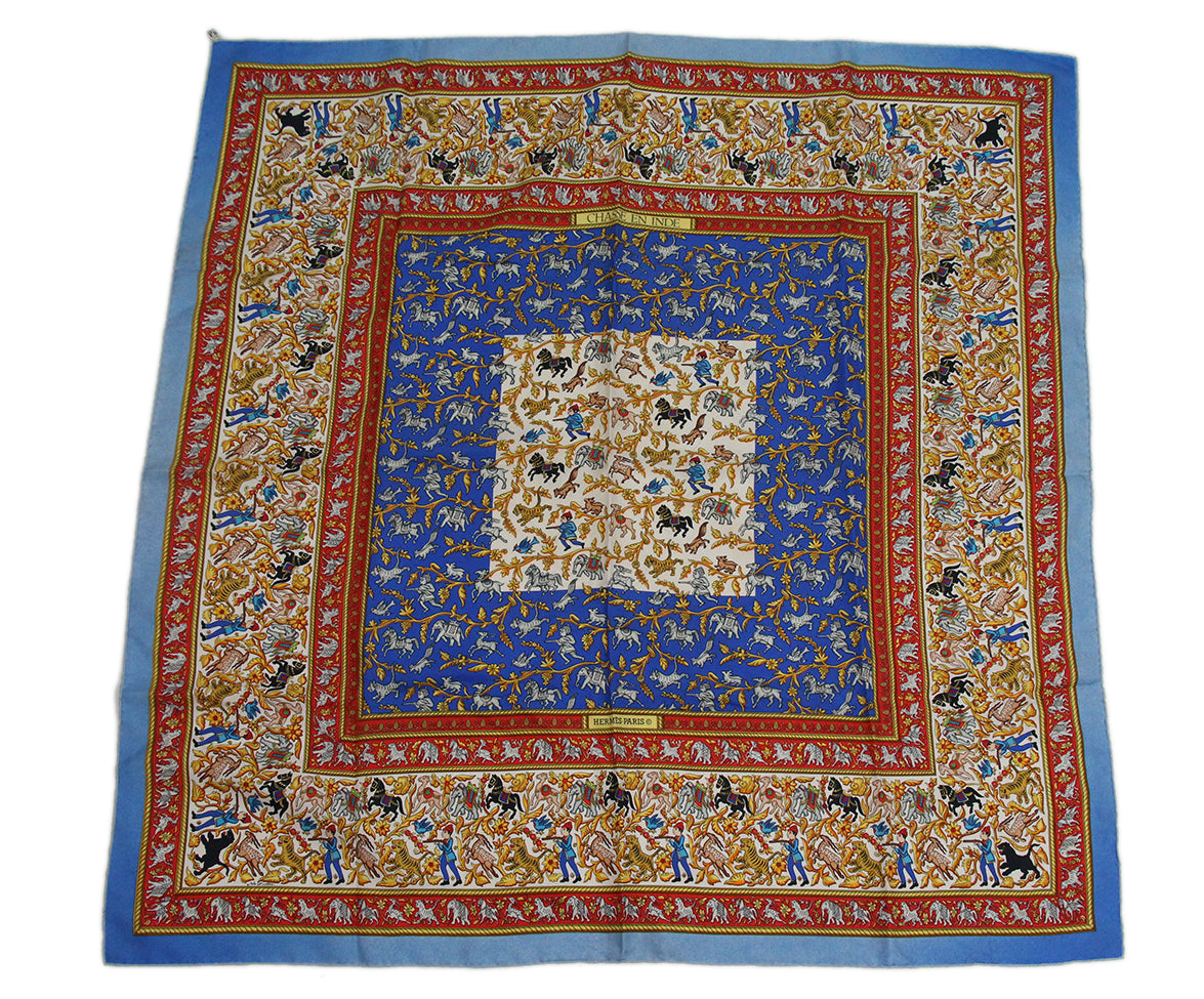 Hermes Chasse en inde Blue Red Yellow Silk Scarf 4